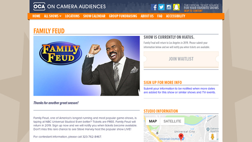 Field trip to Family Feud Taping Session